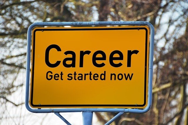 A yellow sign that says Career Get Started Now